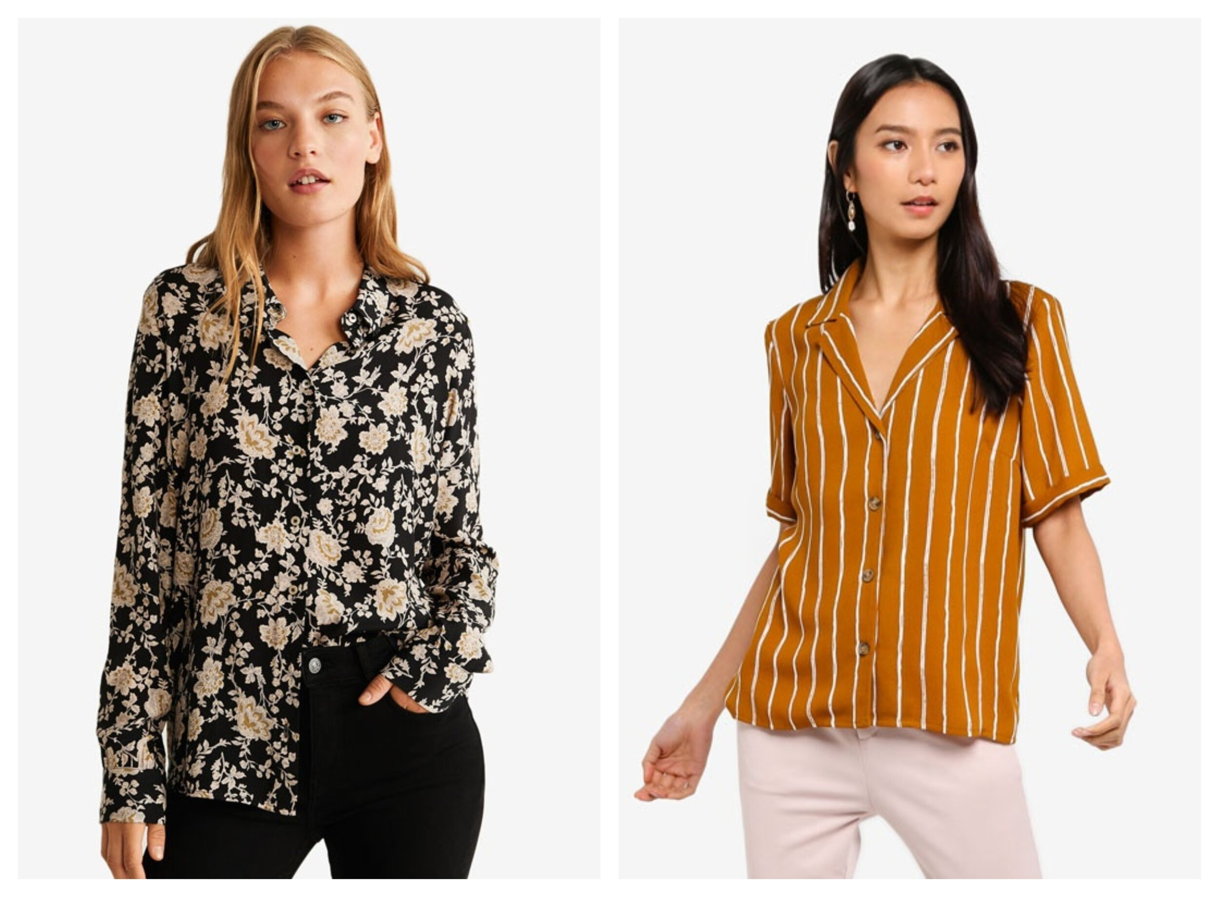 Mango Buttoned Printed Shirt, Pieces Terese Short Sleeve V-Neck Shirt