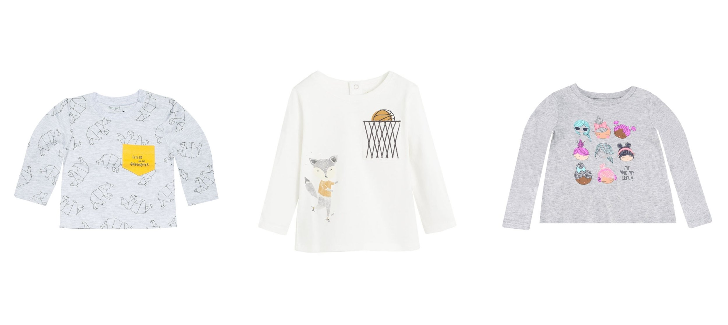 Babybol Polar Bear T-Shirt, Mango Baby Embroidered Chest-Pocket T-Shirt, GAP Long Sleeve Graphic Top