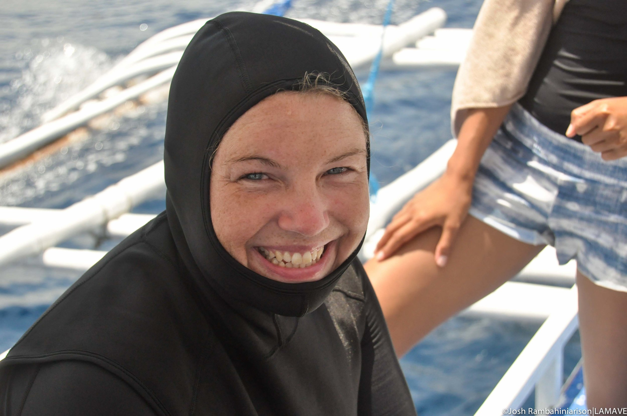 Lene Fron Christensen getting ready to dive Manta Bowl with the team.