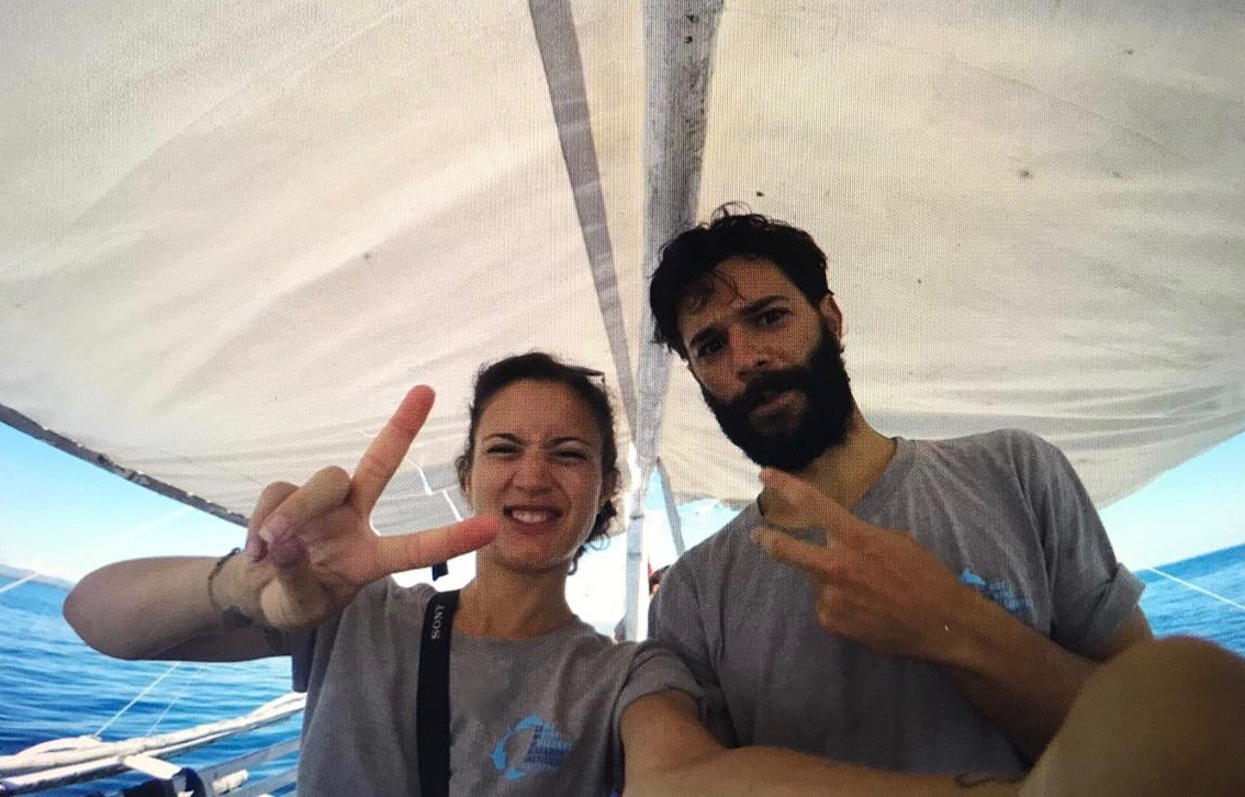 Raphael and Cindy taking a selfie while out in the field with LAMAVE's Manta Bowl Research & Conservation Project