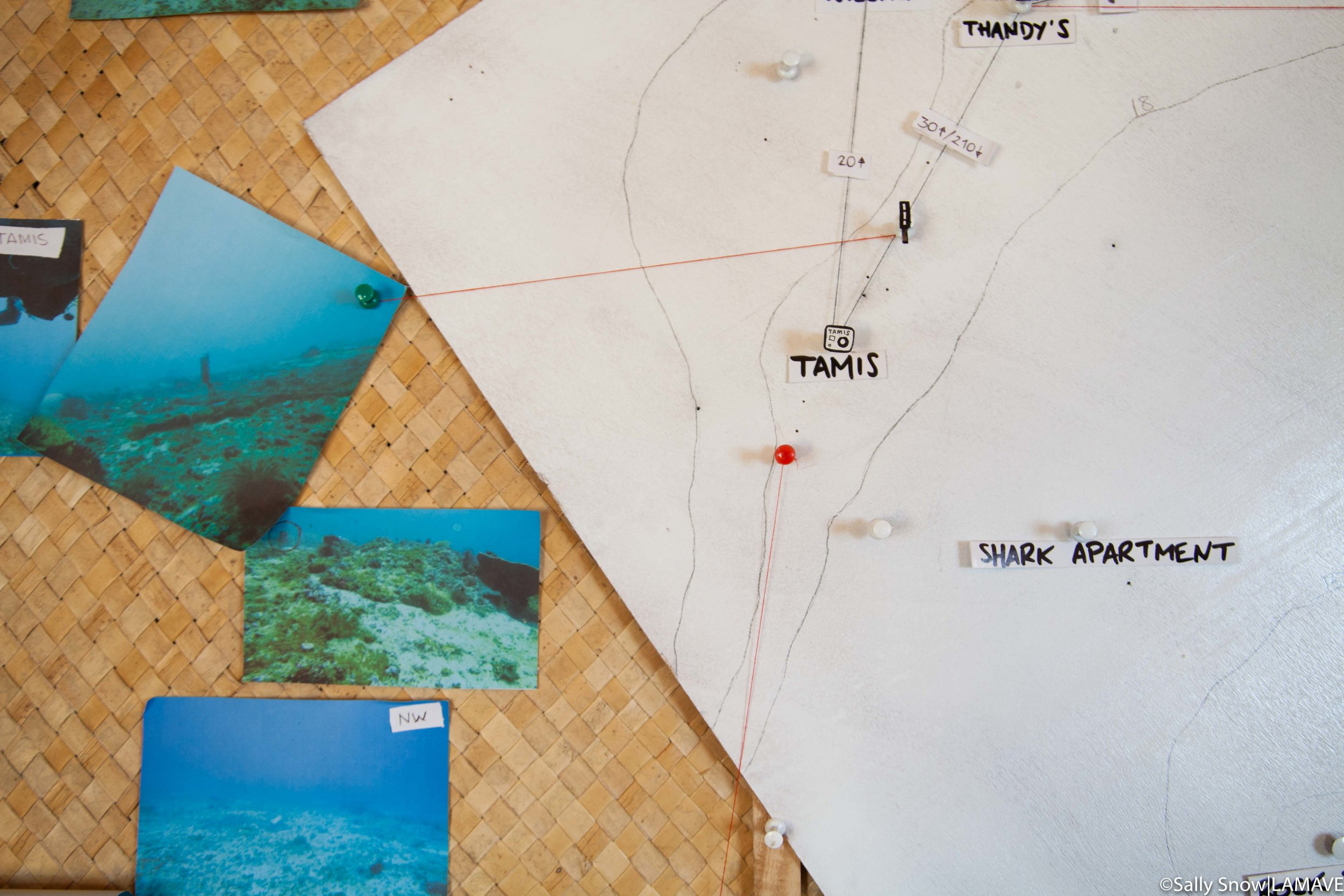 Inside the LAMAVE office kubo the team have set up a map of the bowl.