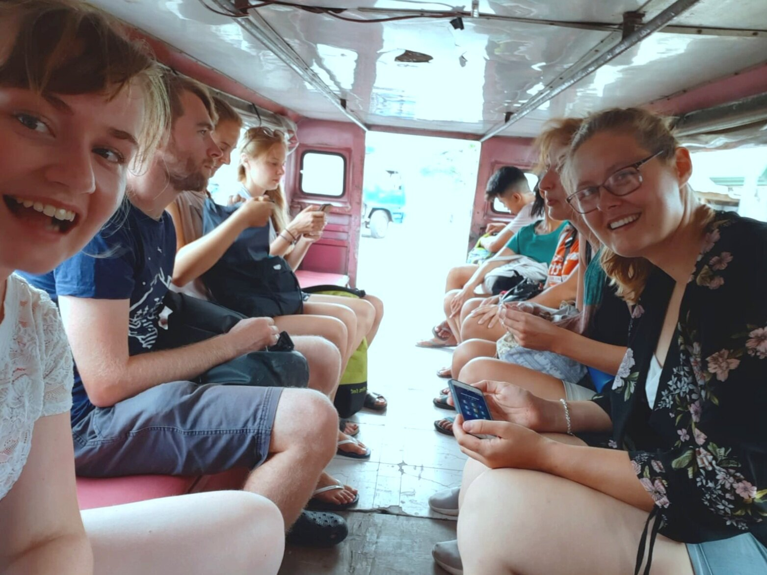 Volunteers riding a jeepney in Cebu. /Photo by Britt Rutherford