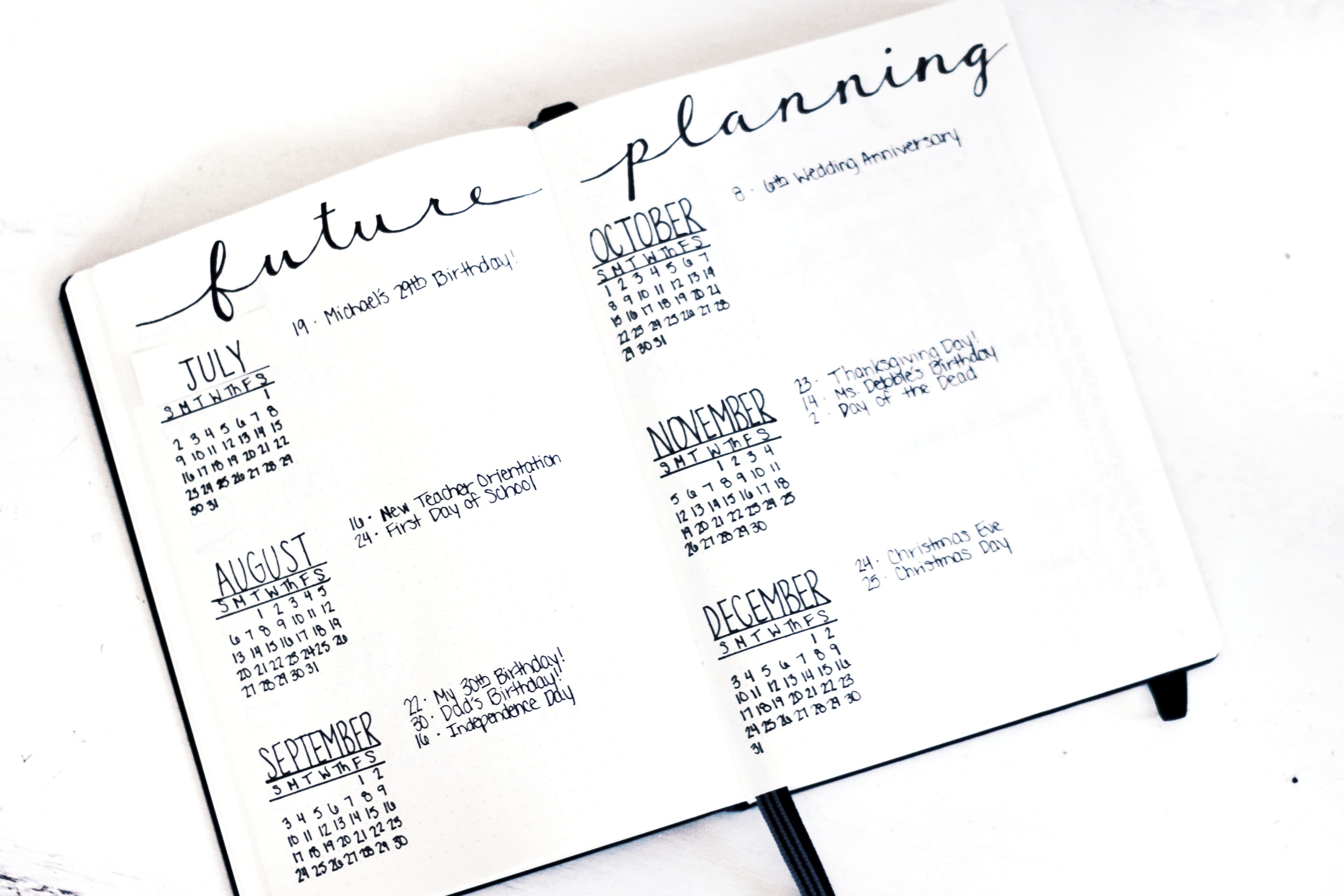 Six Month Future Planning Spread: Great for keeping up with all special occasions, holidays and birthdays. This one comes with a July patch, because I confidently wrote out January in the middle of summer! ; )