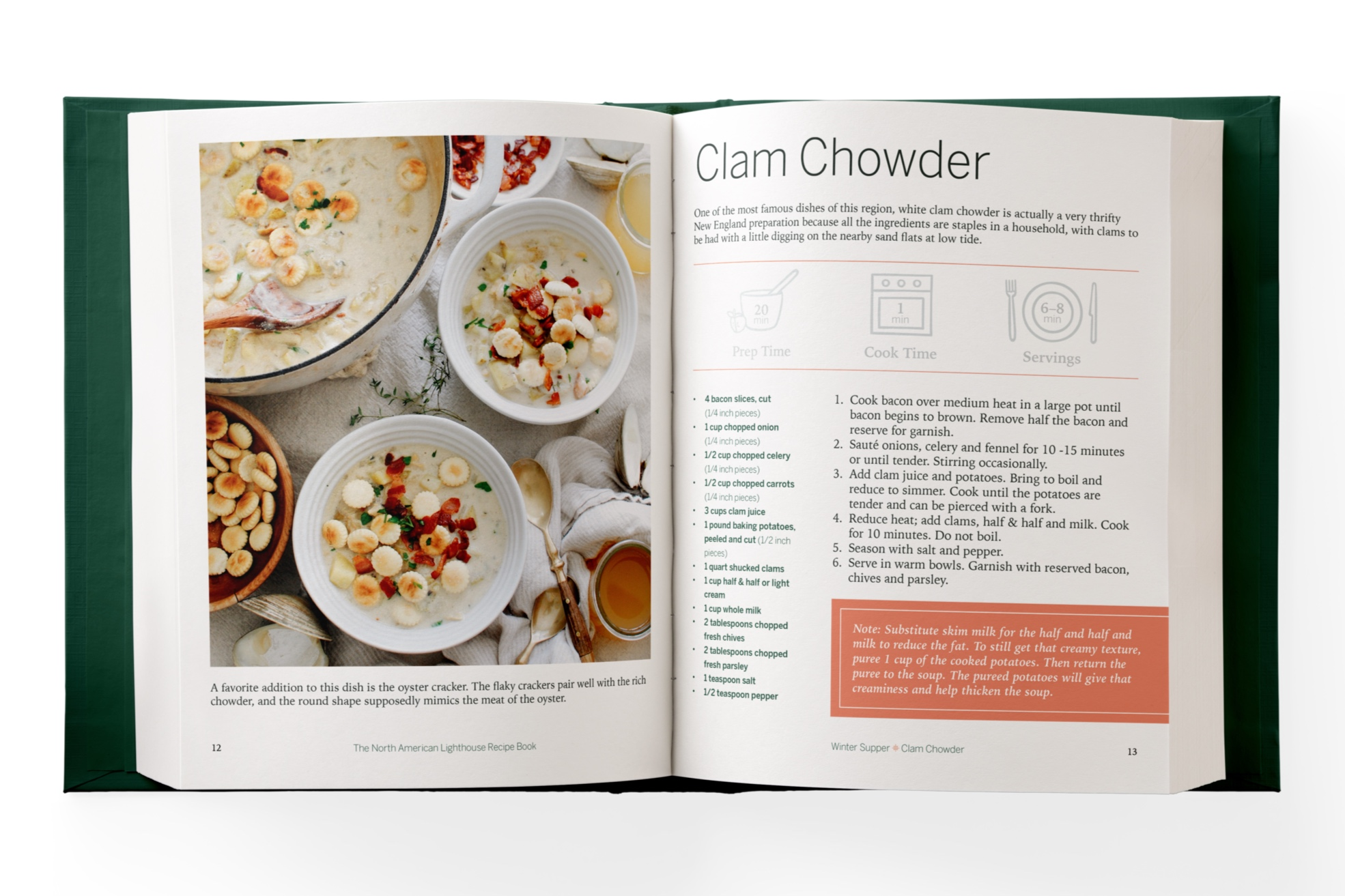 A recipe page for New England Clam Chowder
