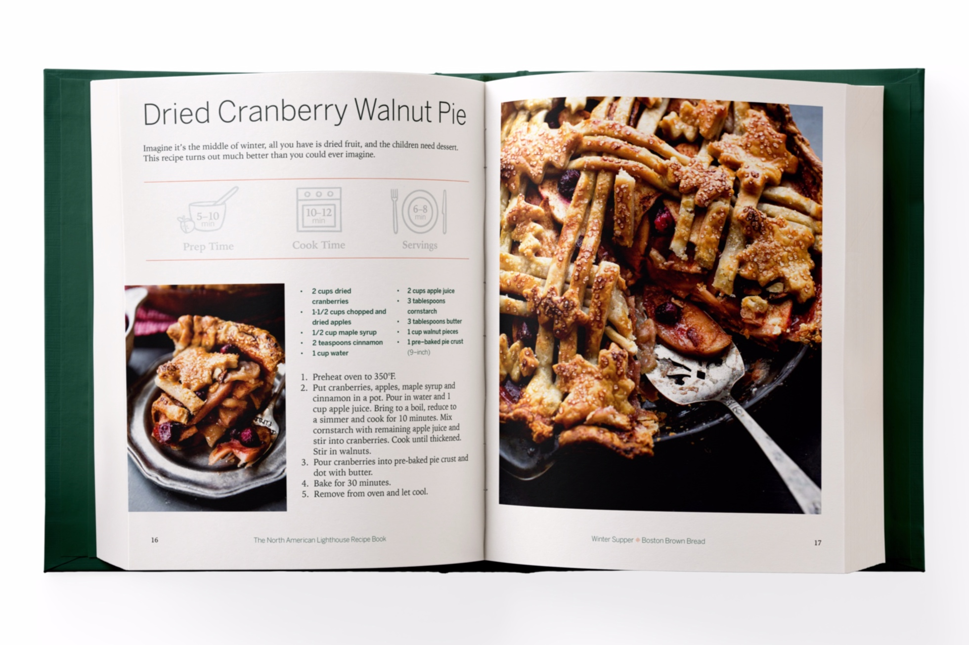 The second recipe page for Dried Cranberry Walnut Pie