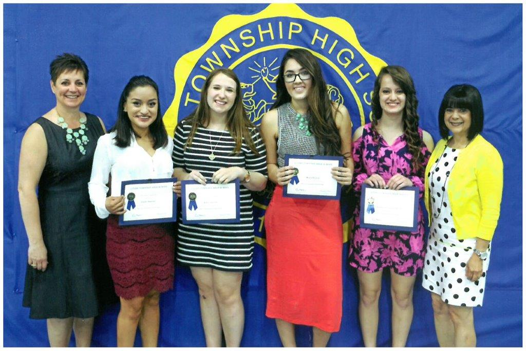 2015 Scholarship Awardees - Pictured (L to R): Mrs. Susan Dixon, Emily Bastian, Riley Carroll, Maria Flores, Brittany Grosser-Basile, Ms. Marcela Ortiz