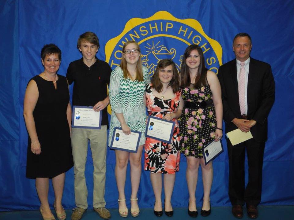 2014 Scholarship Awardees - Pictured (L to R): Mrs. Susan Dixon, Kyle Charlier, Olivia Knack, Alyssa Laatz, Andrea Pardo, Dr. Glenn Schlichting