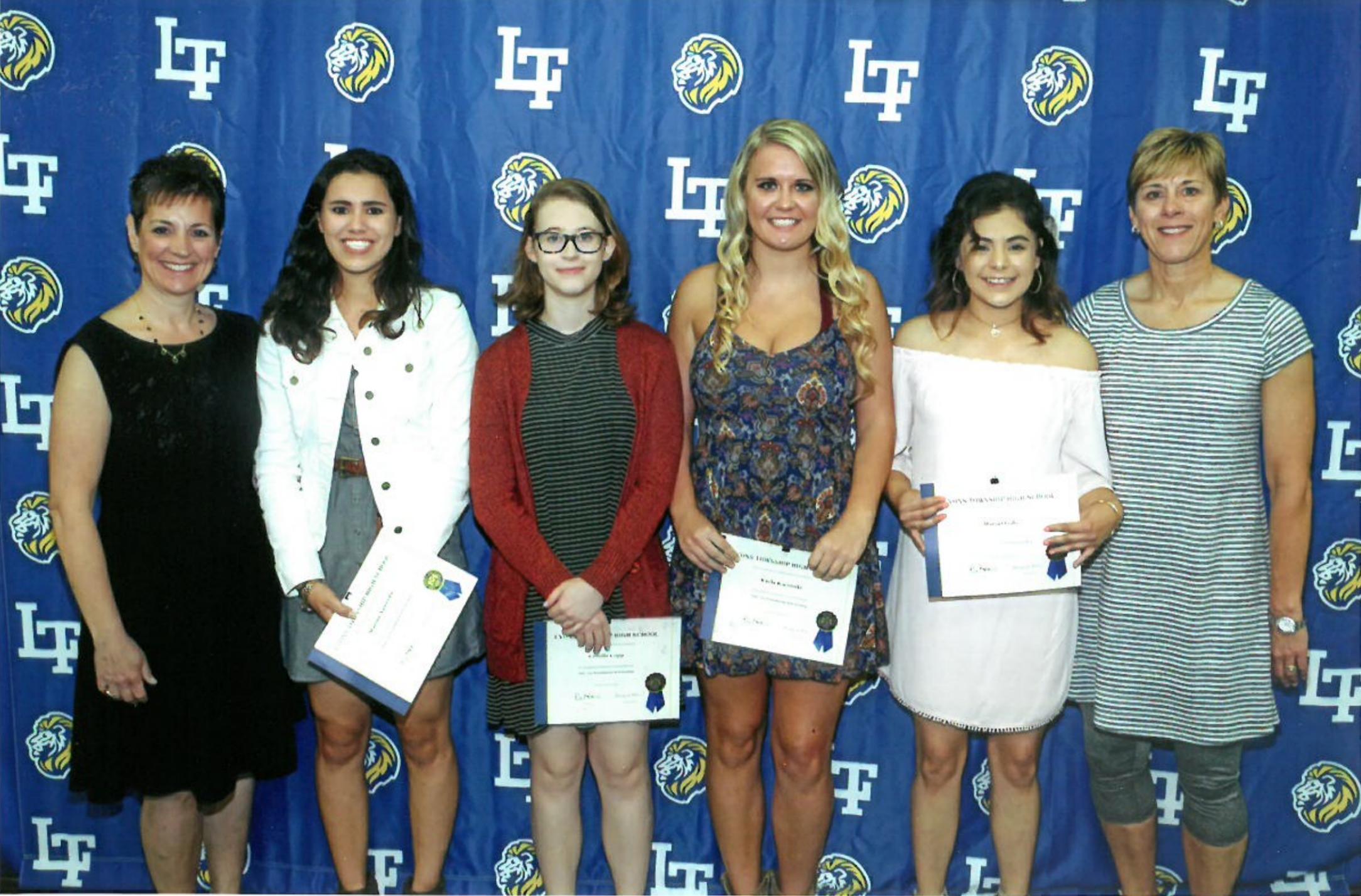 2017 Scholarship Awardees - Pictured (L to R): Mrs. Susan Dixon, Marina Auwerda, Camille Copp, Kayla Kocimski, Maria Ojeda,Ms. Louise Kulaga