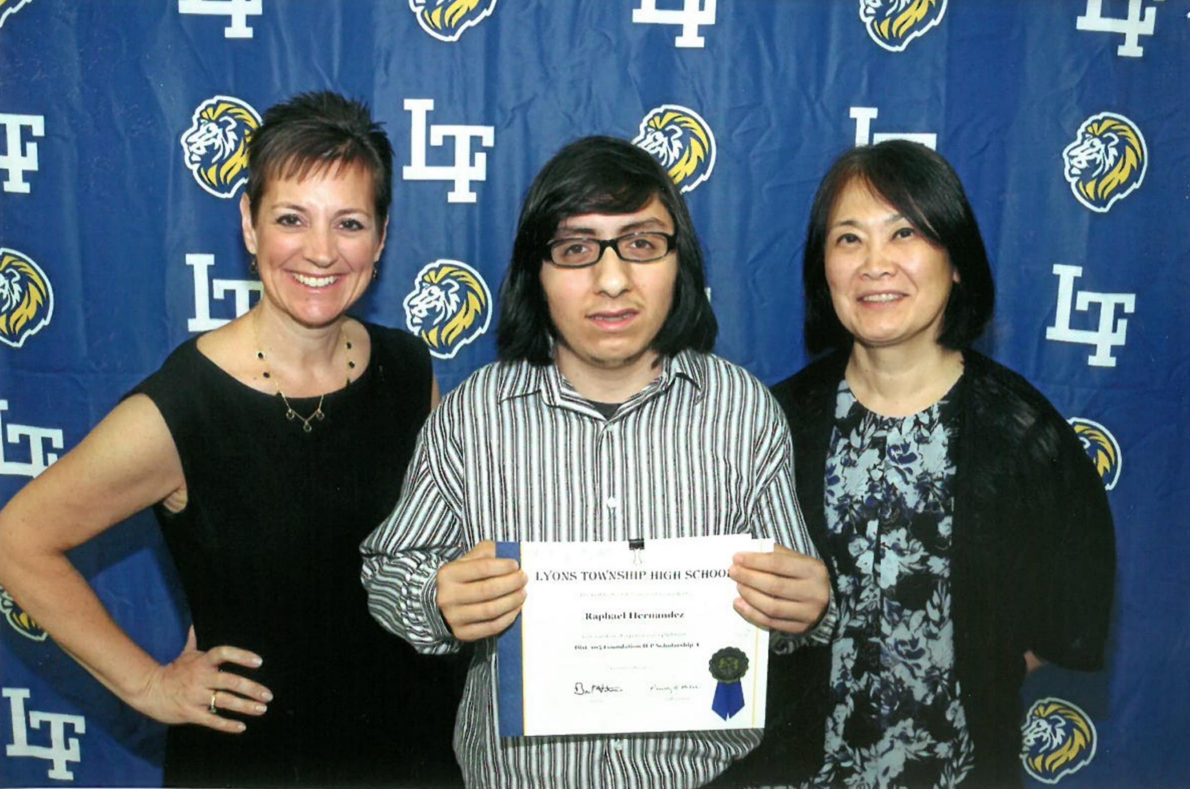 2017 Scholarship Awardee - Pictured (L to R): Mrs. Susan Dixon, Raphael Hernandez, Mrs. Leeza McHugh