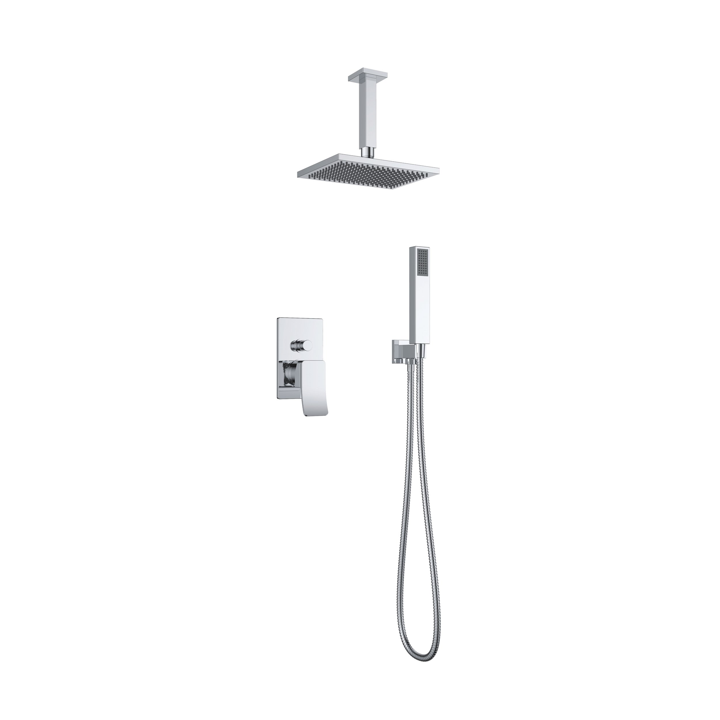7327-101: Concealed shower valve with shower set and head shower
