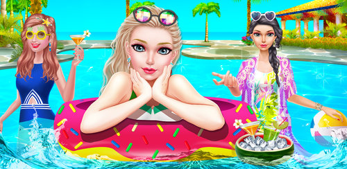 Fashion Doll - Pool Party Girl  Help the pretty girls get ready for the first pool party of the year. Start by giving them a makeover at the tropical salon where the colors are as beautiful as a summer rainbow.