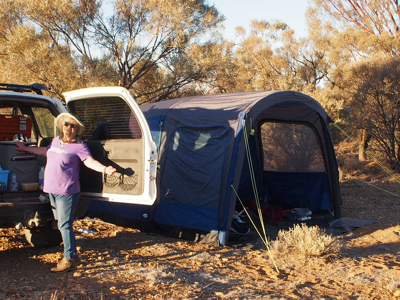 2019-07-5b Robyn with exTerrain tent 3'O'Clock Creek.JPG