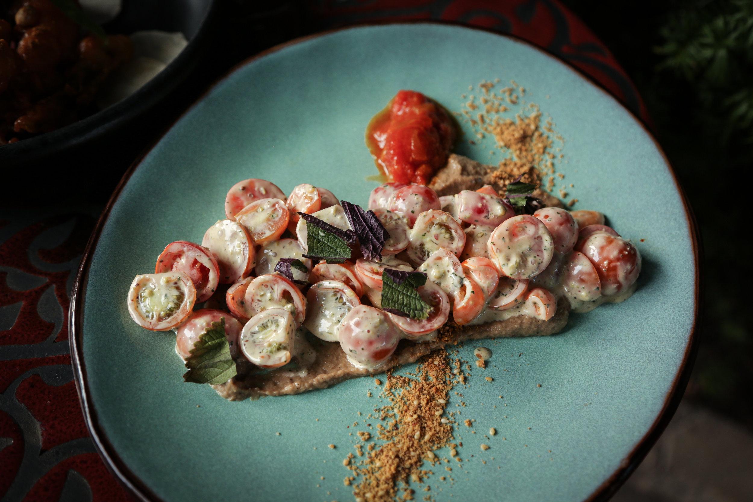 Cherry Tomato Salad | anchovy aioli | smoked eggplant | dukkah | green olive