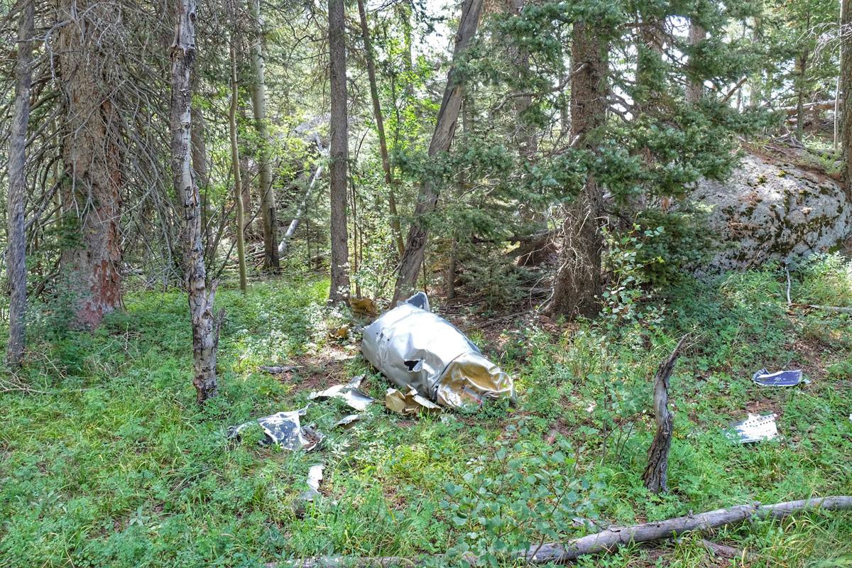 Along the trail lies wreckage from an old airplane crash. Photos by Kevin Mallek