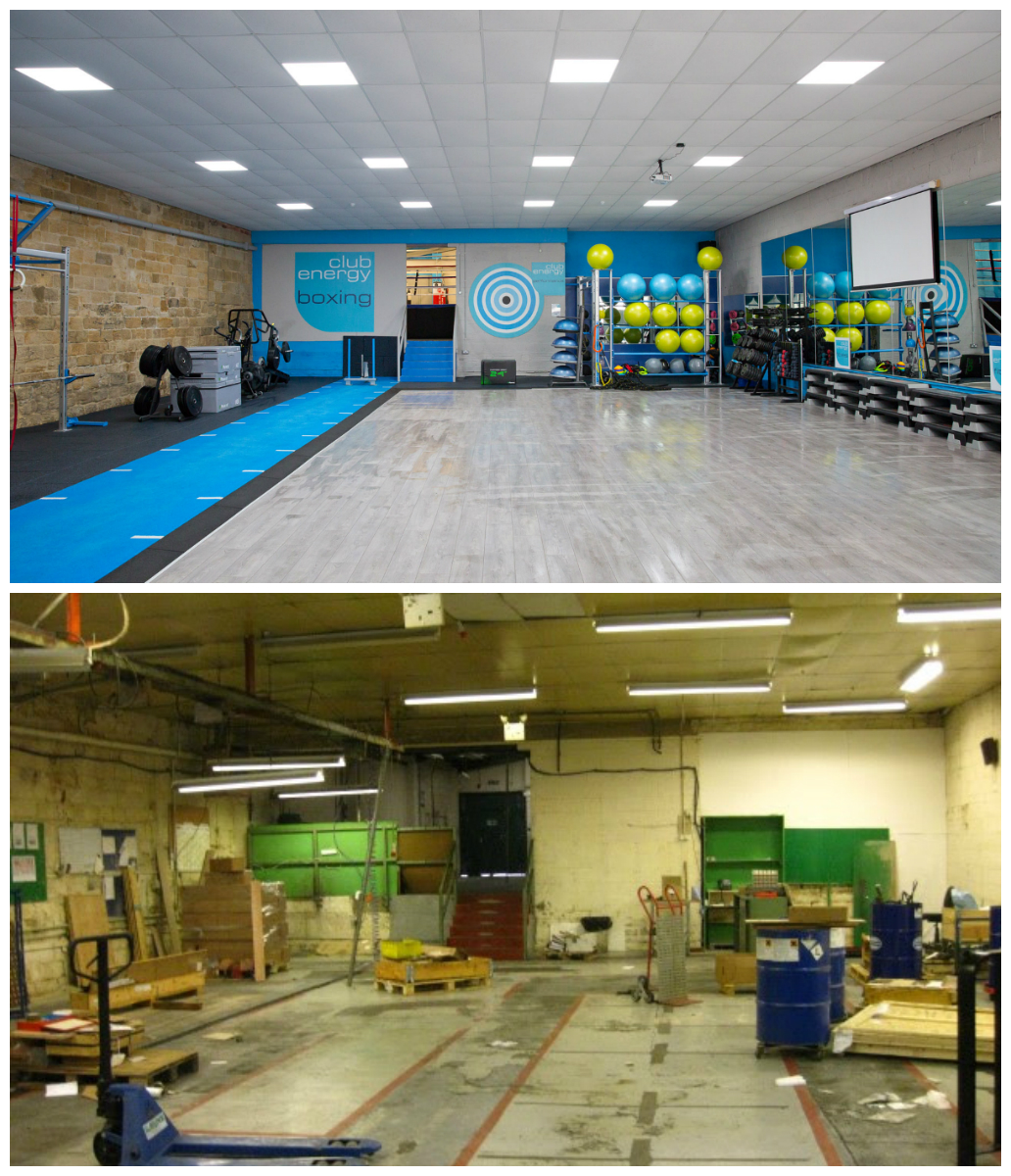 Before & after of our studio area