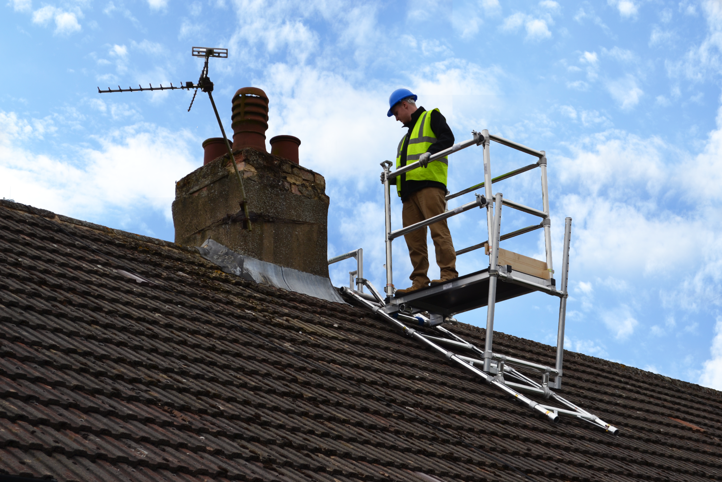 MK tower services, chimney scaffold, aluminium access, chimney scaffolding, roof access