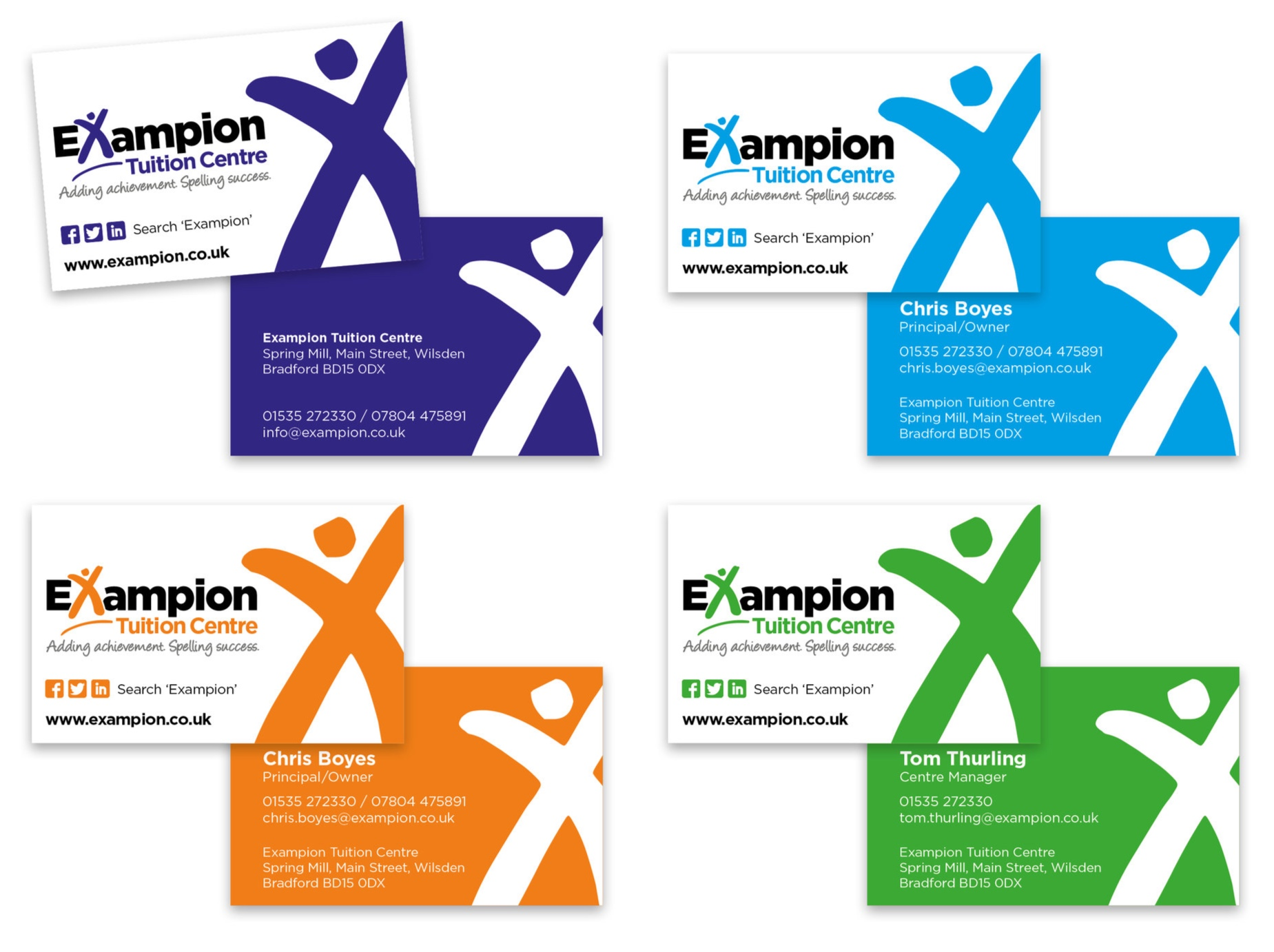A set of colour-matched business cards were designed to distinguish between the Primary and Secondary levels of education and the roles of different members of staff.