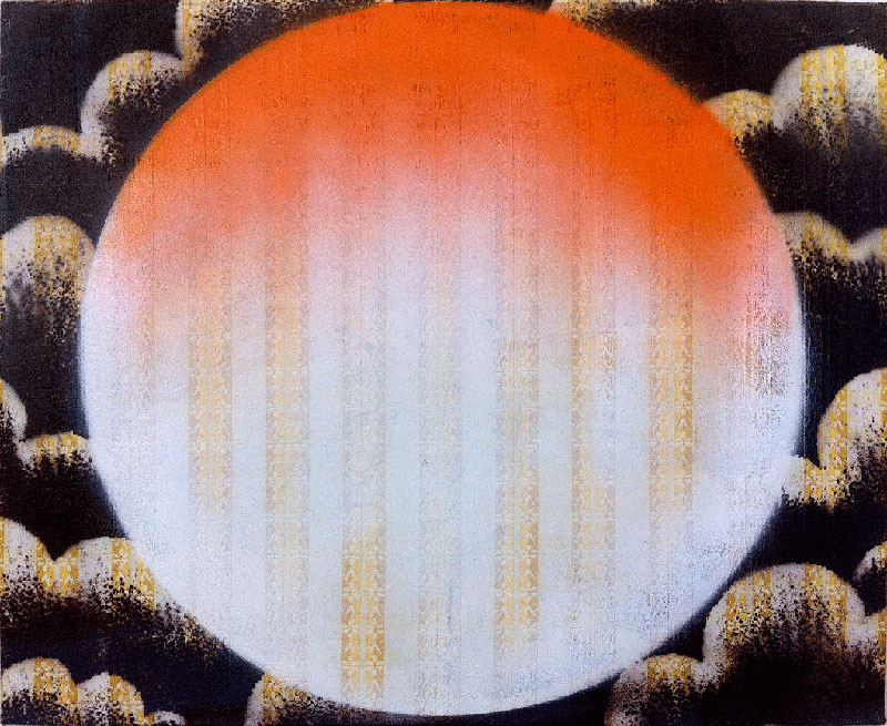 Honeymoon, 2009, Spray paint on linen, 55 x 65 cm