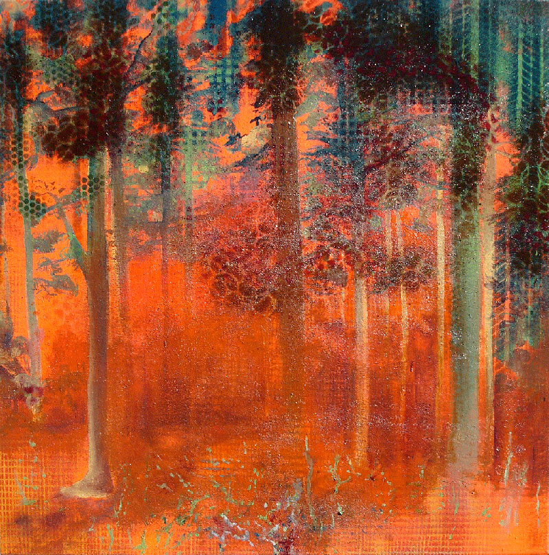 Wald 4282, 2008, Spray paint and oil on linen, 60 x 60 cm