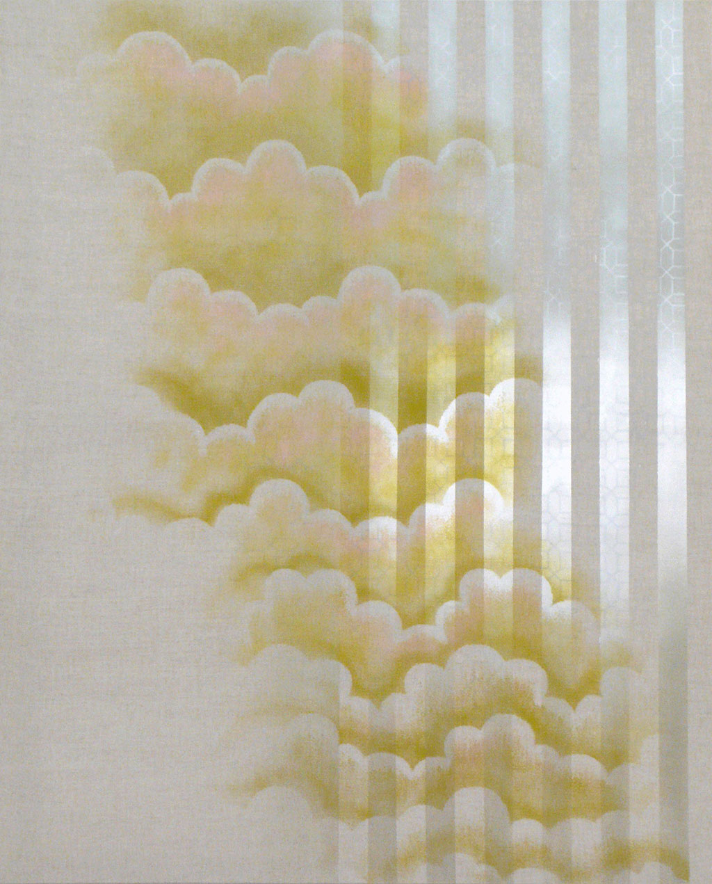 Clouds and stripes and where does that light come from?, 2010, Spray paint on linen, 155 x 125 cm