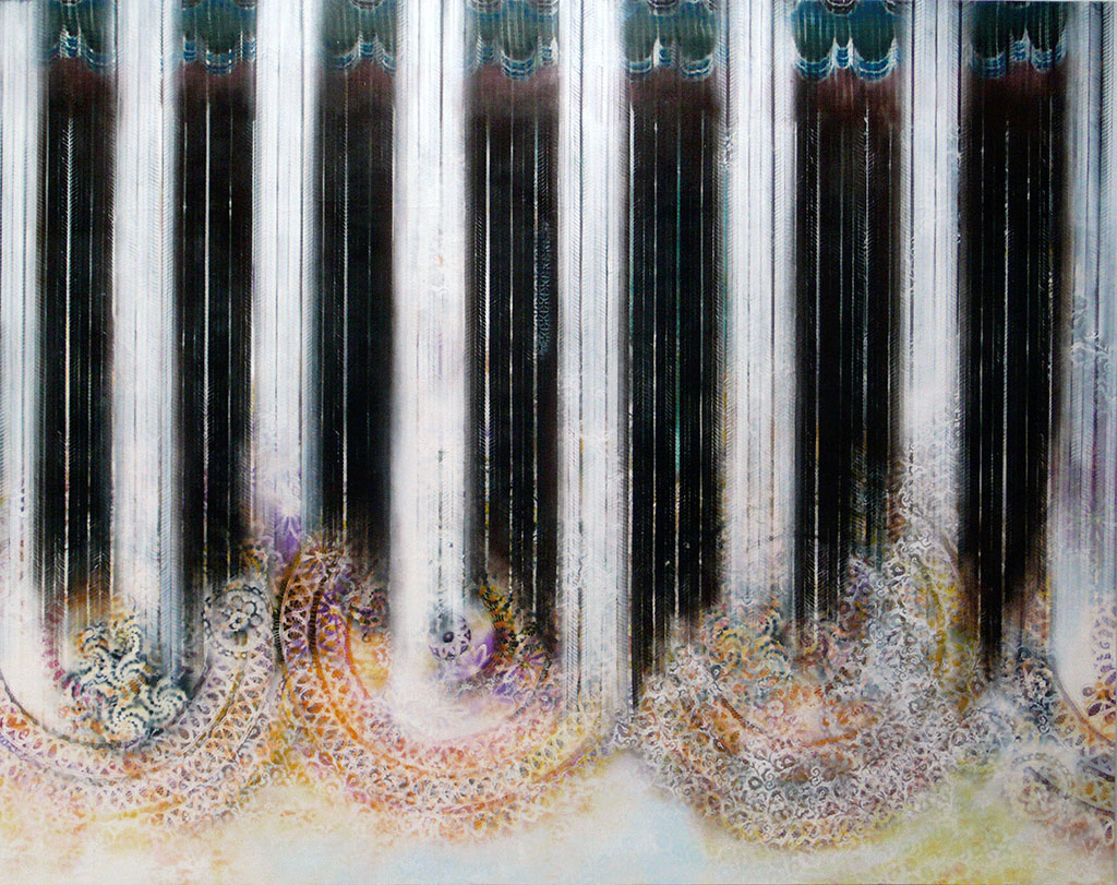 Night over gaza II, 2012, Spray paint on linen, 190 x 240 cm