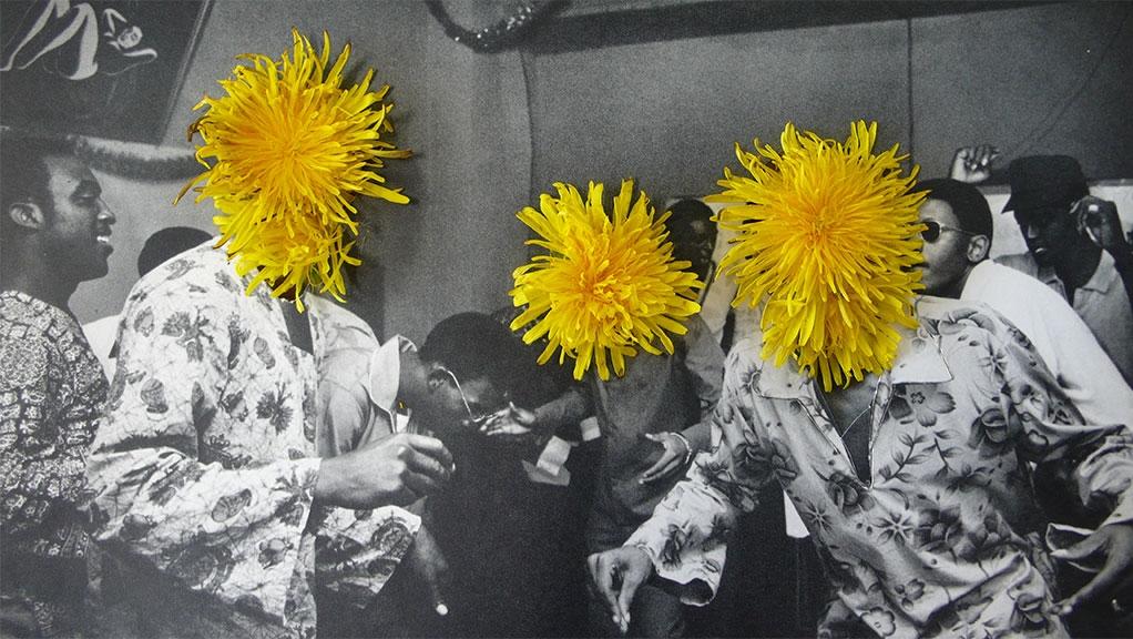 Ephemeral Flower Power, 2012, Paper, glue and flowers, 23.6 x 13.3 cm