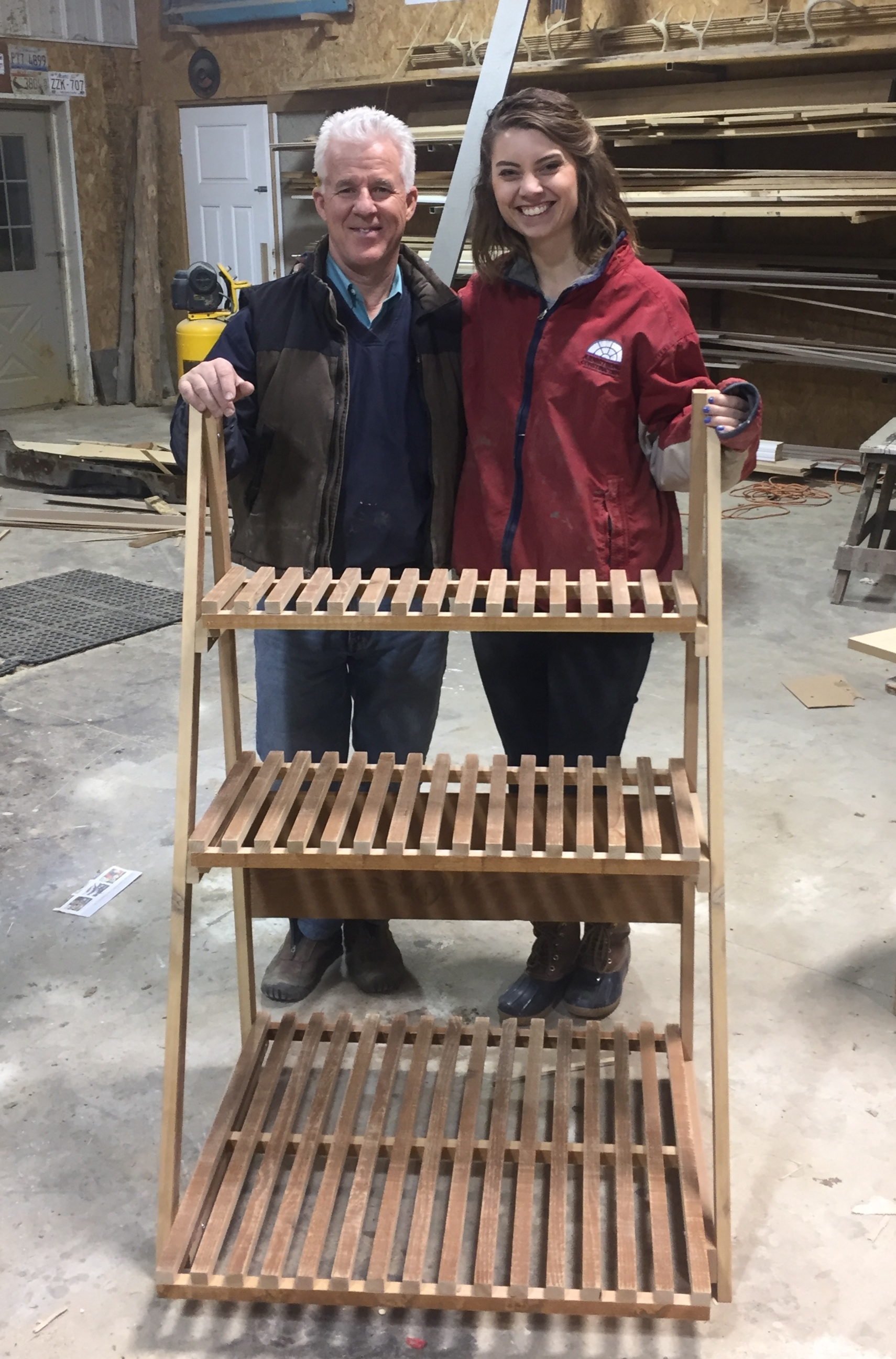 Carpentry Project - This past weekend we took a trip out to Illinois to connect with family and ministry partners. While there Karilyn and Blair's Dad spent an enjoyable 2 hours, from start to finish, making a flower pot stand! These two LOVE to garden!