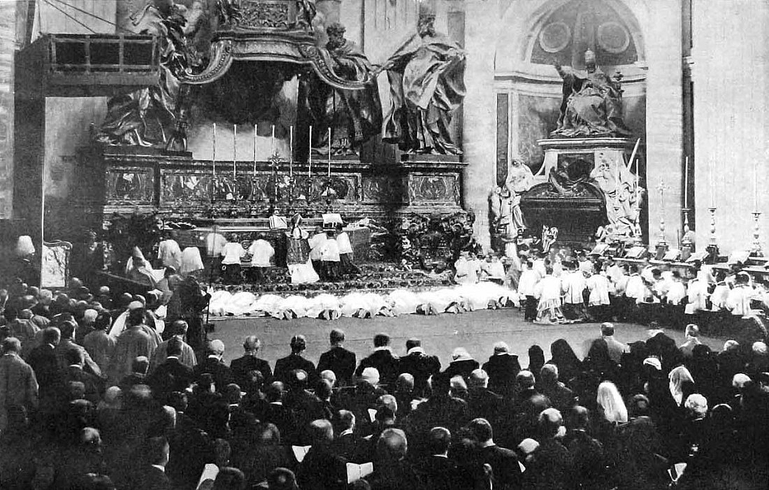 "Pope St. Pius X, who in his Motu Proprio, ""Tra le sollecitudini""(1903), desired that the people should sing the parts of the Mass that belong to them, celebrating an Ordination Mass at St. Peter's Bascilia."