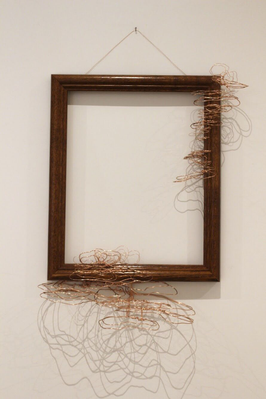 """the strangest of places II - 2019Copper wire and wooden frame10x12""""$175"""