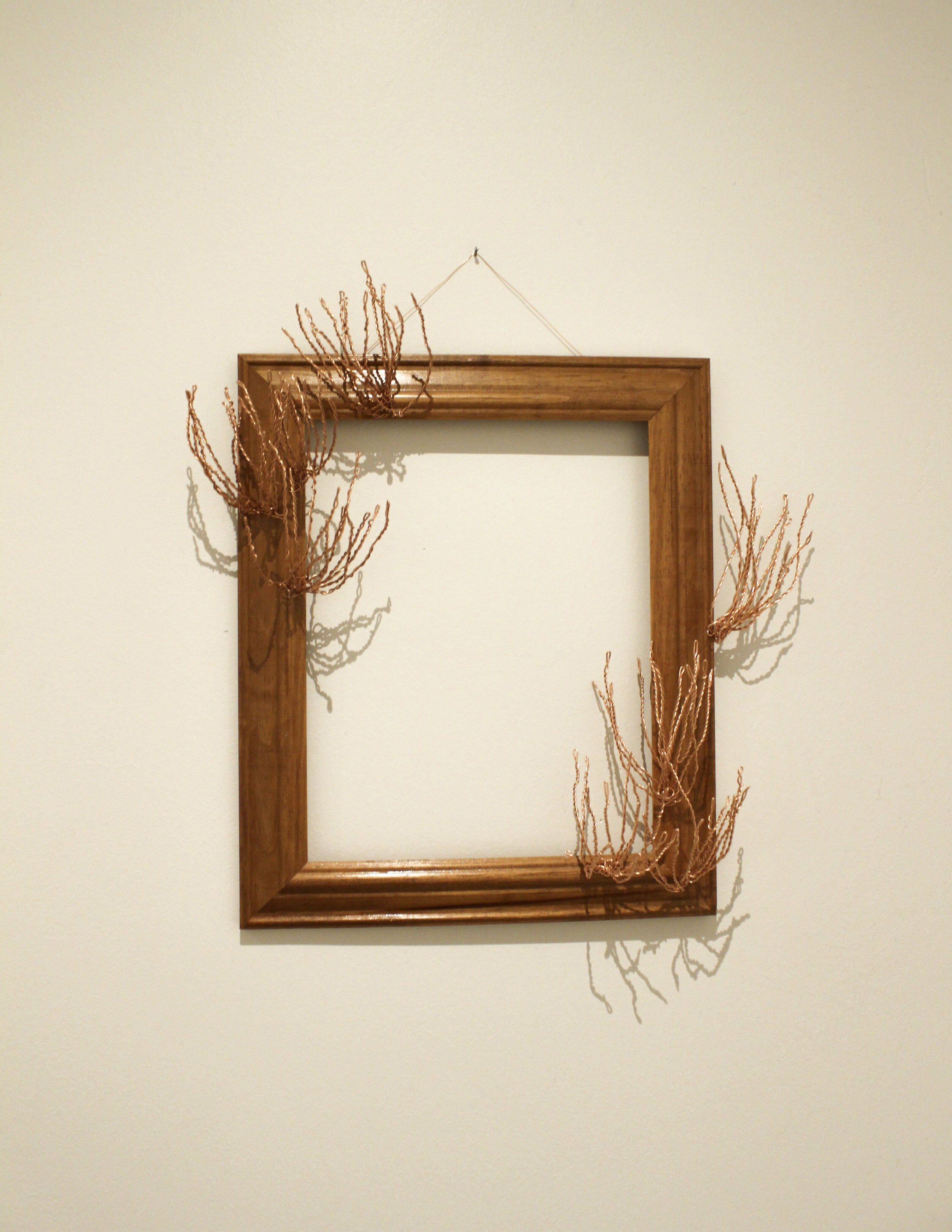 """the strangest of places III - 2019Copper wire and wooden frame10x12""""$175"""
