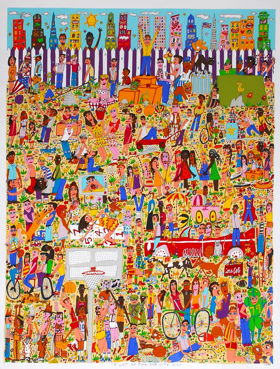 James Rizzi A Lot of Fun For City Kids, 1998 3D painting