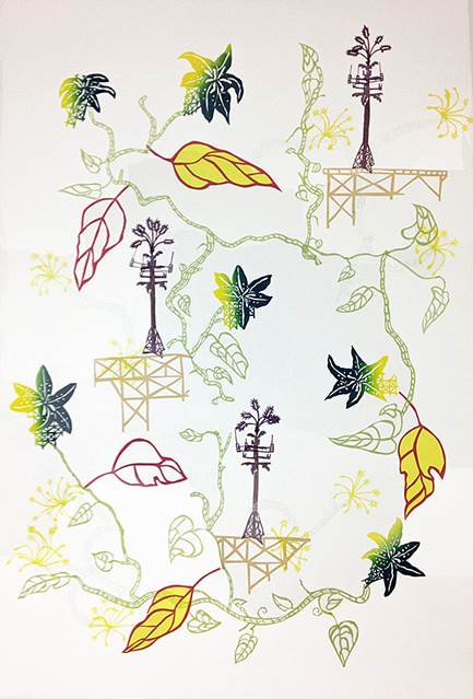 Susan Graham Cell Phone Tree Toile, 2017 Chine colle paper cut out on cotton