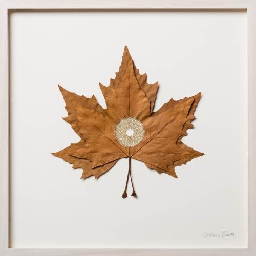 Susanna Bauer Centered IV, 2016 Platanus leaf and cotton thread