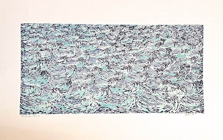 Eve Stockton Blue Seascape Var. 4, 2009 Woodcut print with colored inks on paper