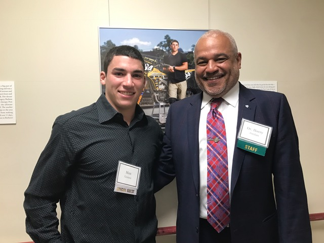 Max (left), Faces of Burke Participant, standing with Barry Jordan MD (right), Assistant Medical Director at Burke rehabilitation