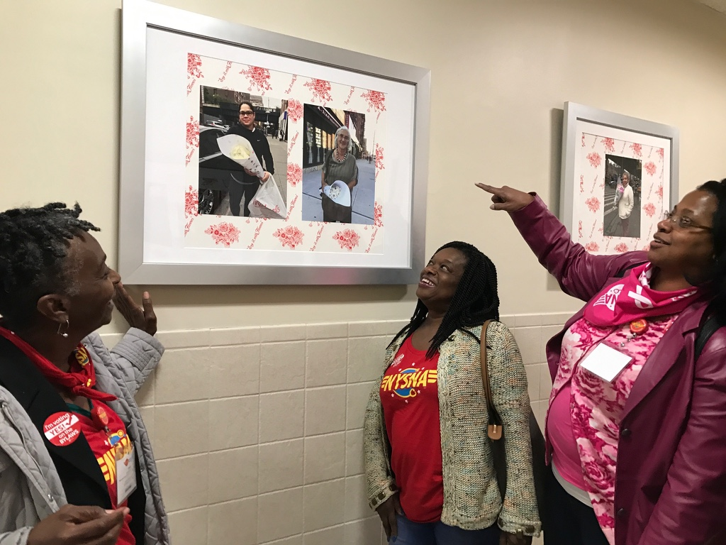 """Attendees of the Opening Reception for """"Say it with Flowers"""" by Artist Linda Stillman. October 12, 2017"""
