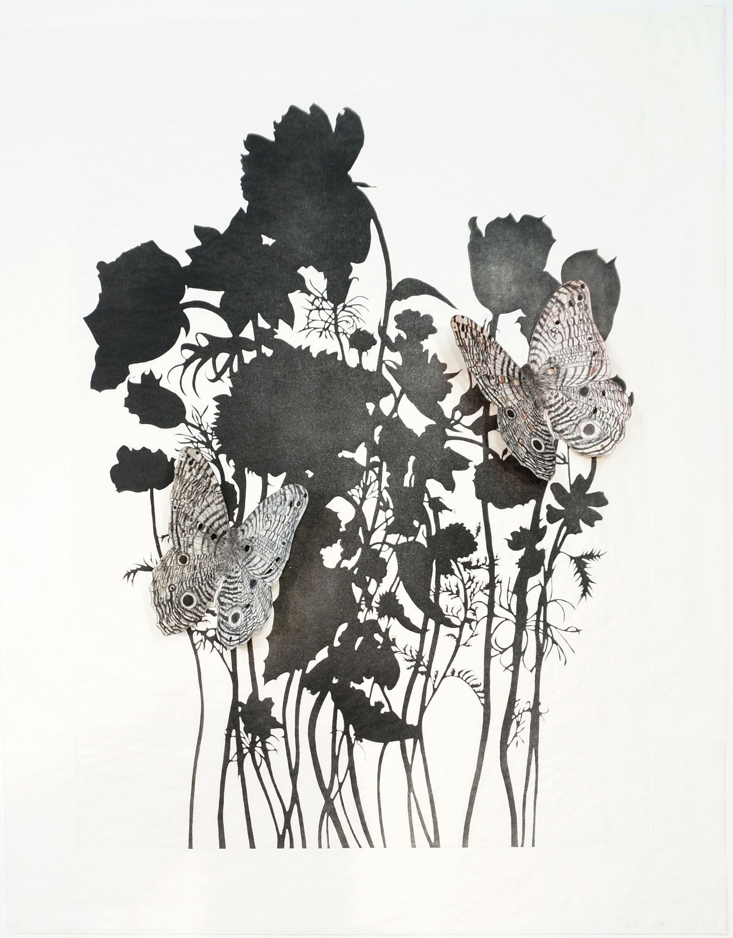 Valerie Hammond Flutter II, 2016 Intaglio on gampi with collage