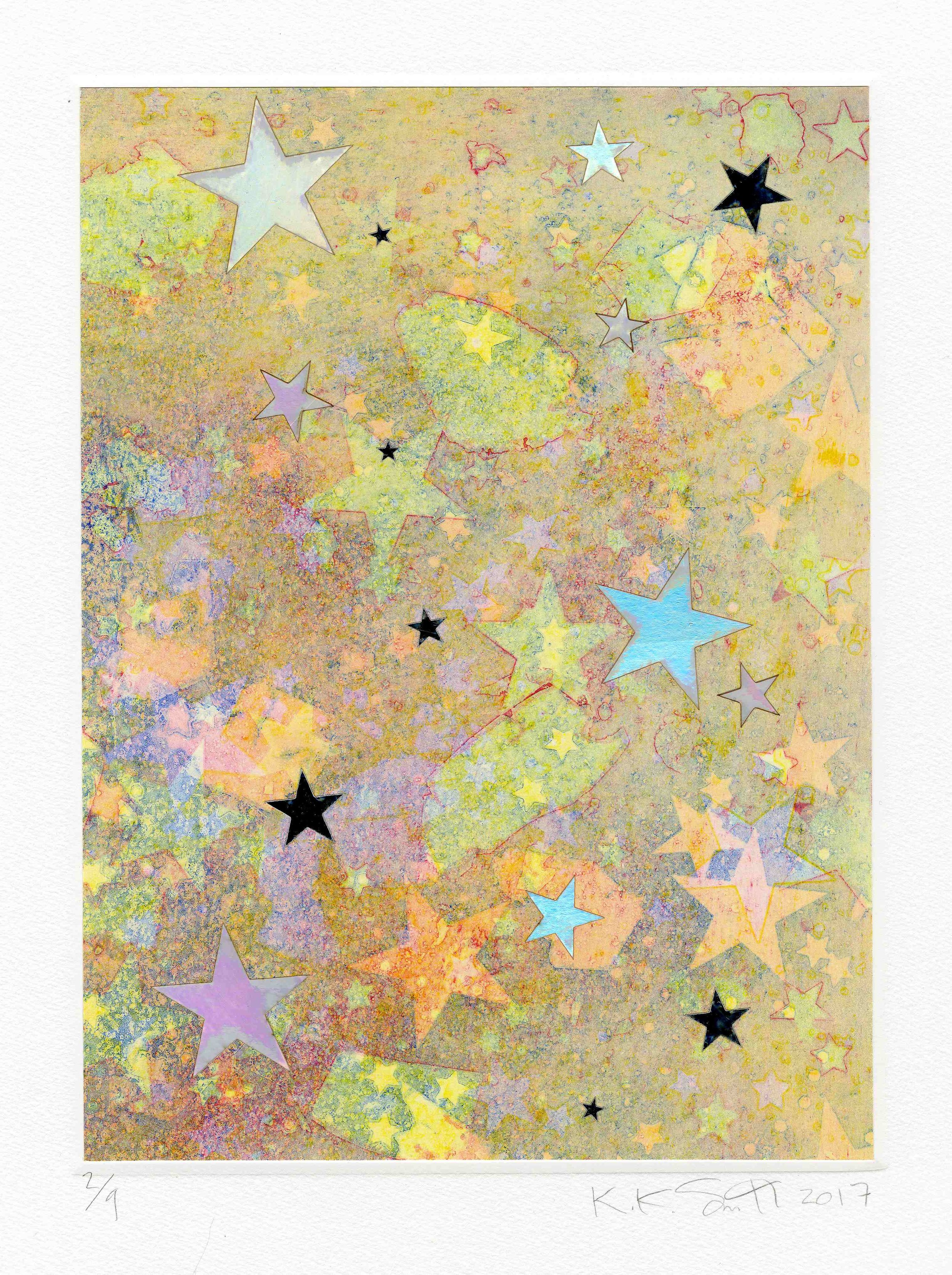 Kiki Smith The State of the Sky, 2017 Intaglio with chine collé, mirrored mylar and hologram paper collage