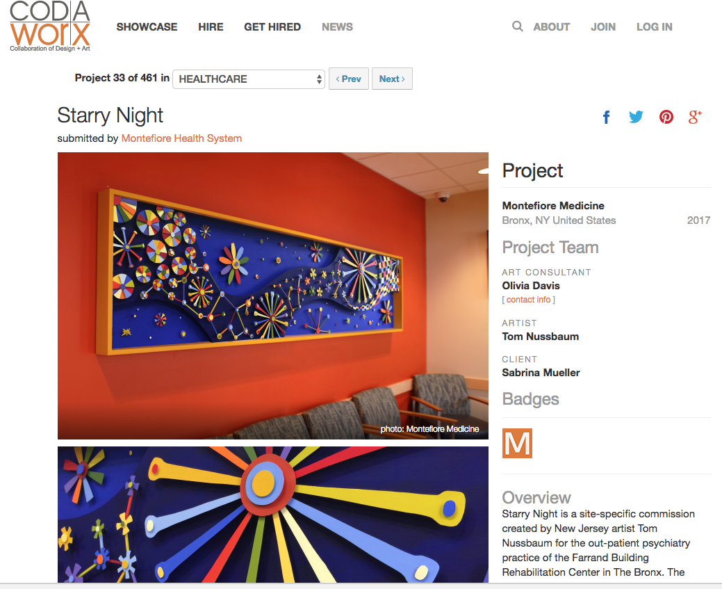 Tom Nussbaum featured by CODAworx for Starry Night, an installation at Montefiore's Pediatric Psychiatry Center.