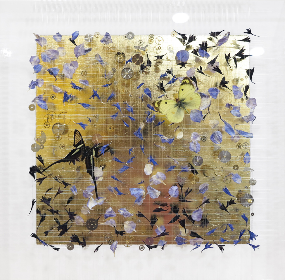 Anna Masters Little Dreams XVIII, 2018 Butterflies, dried flowers, watch parts, thread, and pins
