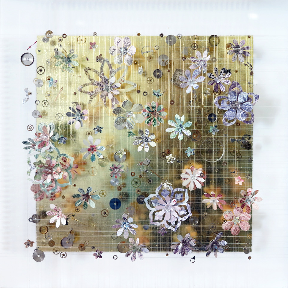 Anna Masters Modern Dystopias II, 2018 utterflies, dried flowers, watch parts, thread, and pins