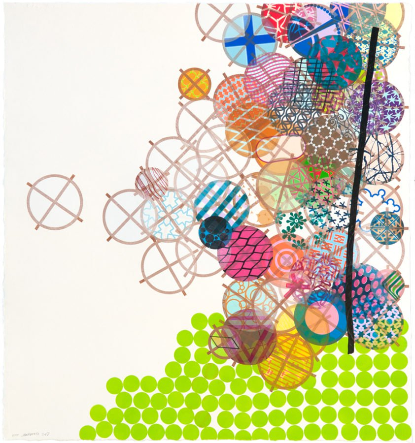 Jacob Hashimoto The Blurred, Mystical Affirmation of the Universe 2018 Woodblock, Hiromi Handmade paper