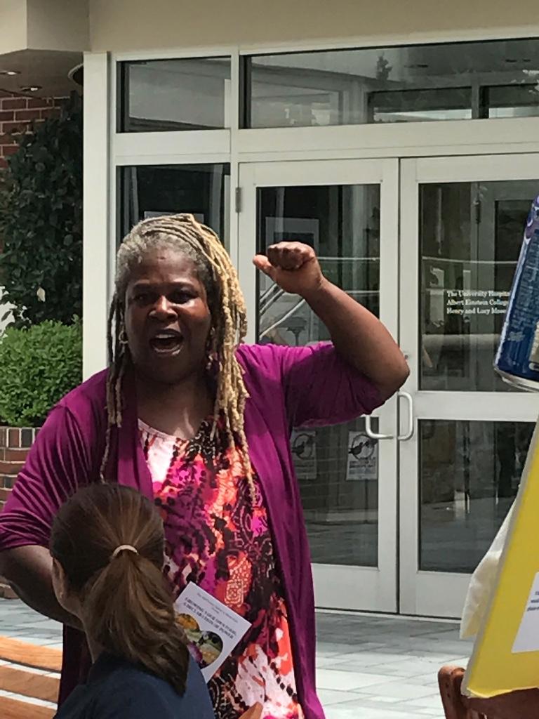 Karen Washington speaking at Montefiore Medical Center on Community Enrichment Day.