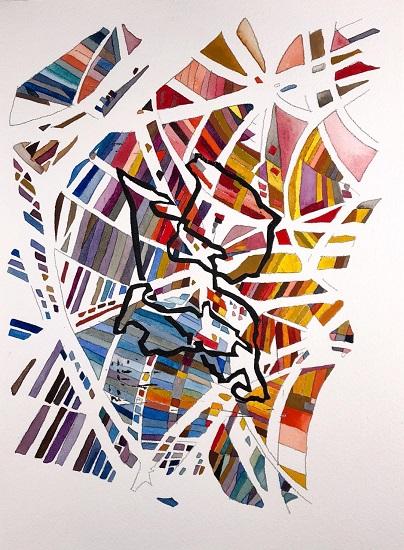 Yasemin Kackar Demirel An Array of Portals 2018 Watercolor, block print, and graphite on paper