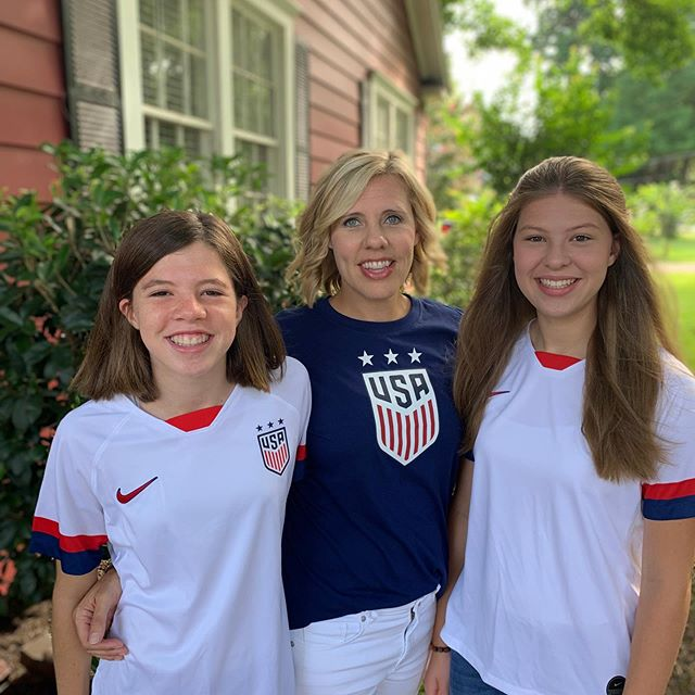 When your daughters are soccer players and are fired up to watch the US WOMEN play for the World Cup on a Sunday morning, you go to church representing!!🇺🇸🇺🇸⚽️⚽️ @fifawomensworldcup @uswnt @womens_usa_soccer #girlscandoanything