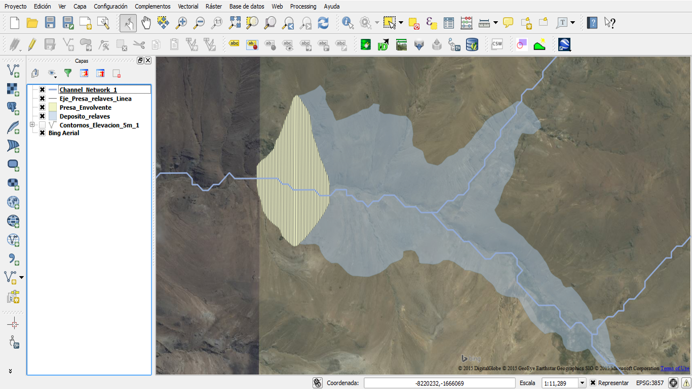 Andean basin shapefile over a Bing Aerial image