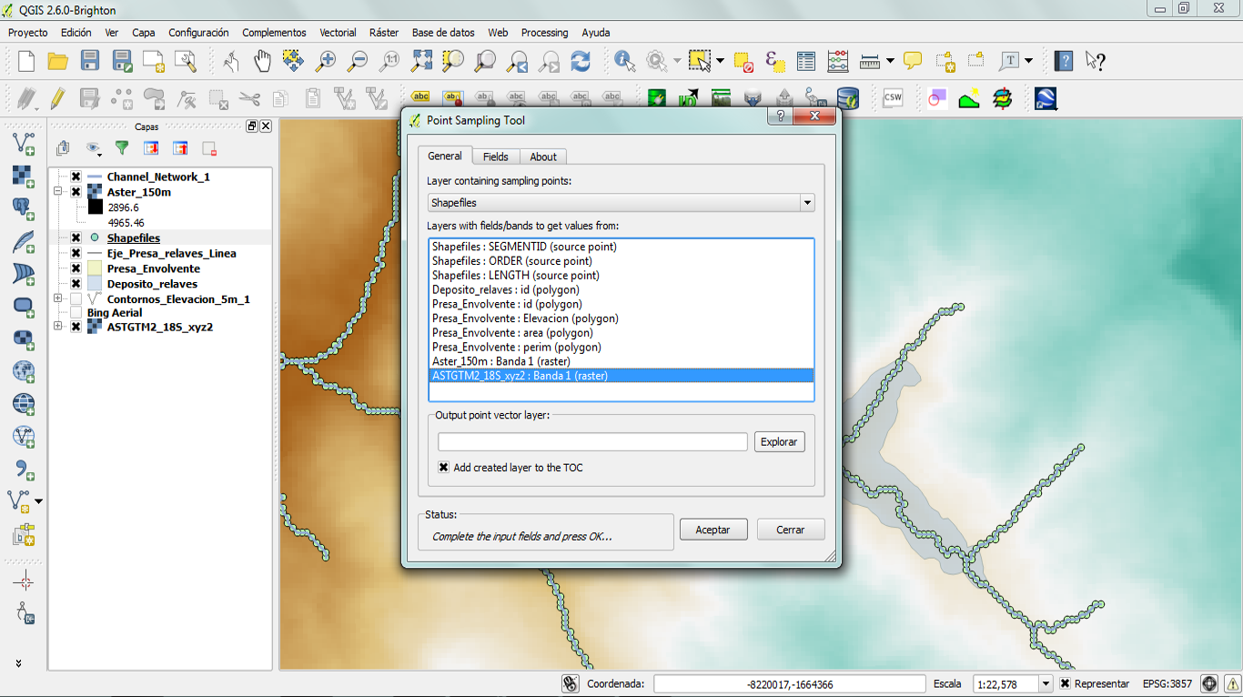 Point sampling tool plugin to capture elevation on river vertex.