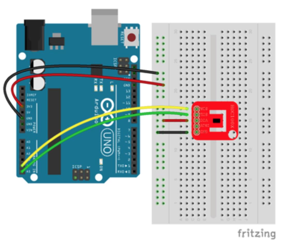Fig 1. Wiring diagram of HDC100x sensor to Arduino