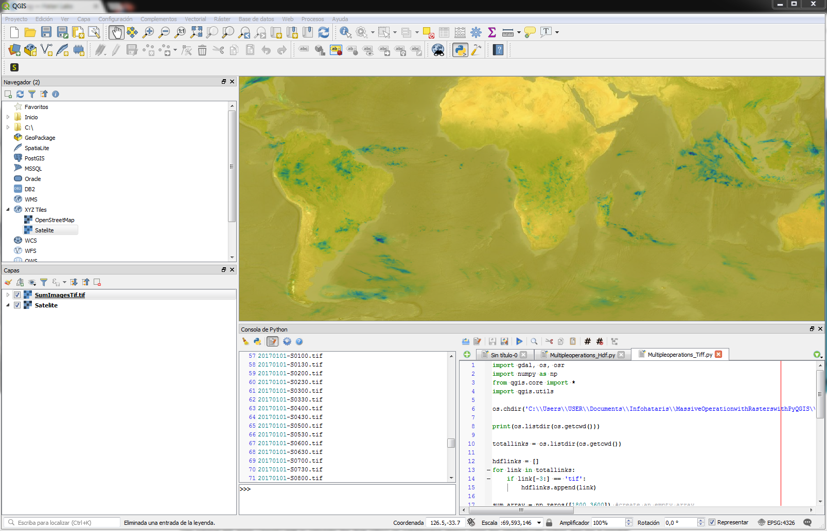 Massive Operations on Rasters with QGIS3 and Python