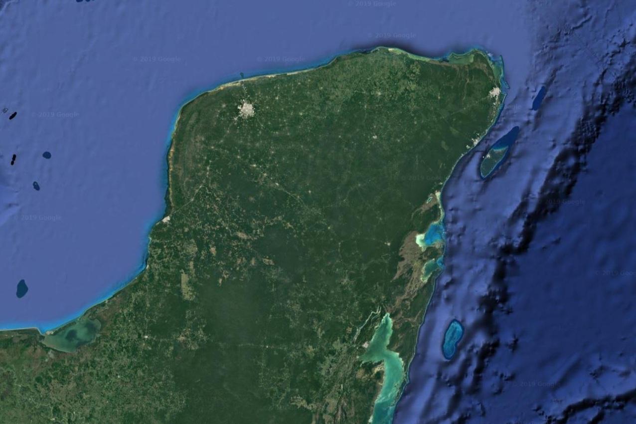 Aerial view of Yucatan Peninsula